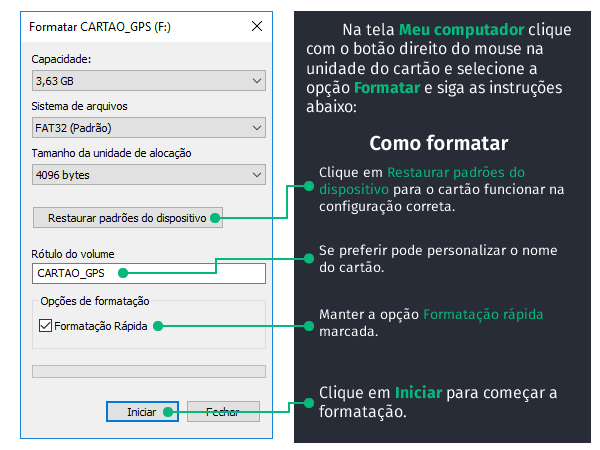 formatar cartao - MANUAL | Instalação Pack 3 Navegadores iGO